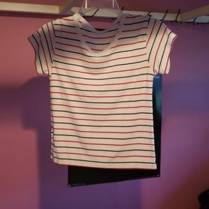 Blue & red striped cropped tshirt